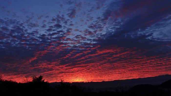 佐久平から群馬県境の山並みが、東雲色に染まる、師走の早朝。