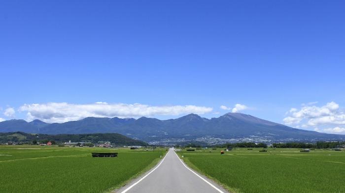 『そらいろの丘』を左に望む、雄大な山並みへ続く一本道。